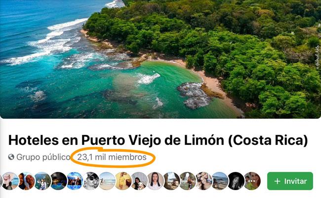 Grupo de Facebook de Hoteles en Puerto Viejo